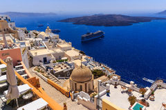 Santorini view at old port. View at roofs of Oia at Santorini royalty free stock photo