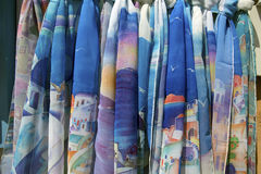 Santorini, scarves Stock Photo
