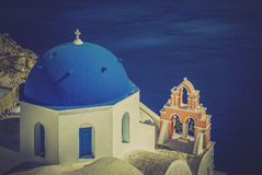 Santorini scene with famous blue dome churches Stock Images