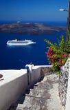Santorini - Schip Stock Fotografie