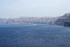 Santorini sea. View of Santorini sea with boat wake 2015 Stock Image