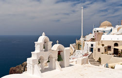 Santorini sea view with church Stock Images