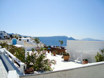 Santorini  sea view of  romantic terrace Stock Photo
