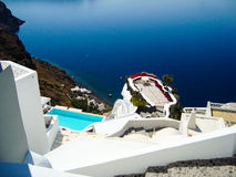Santorini  sea view of  romantic terrace Stock Images