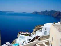 Santorini  sea view of  romantic terrace Royalty Free Stock Image