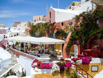 Santorini  sea view of  romantic terrace Royalty Free Stock Image
