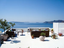 Santorini  sea view of  romantic terrace Stock Photography