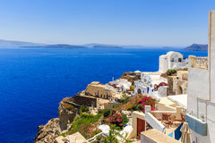 Santorini sea view. View at the roofs and coast of Oia at Santorini royalty free stock photography