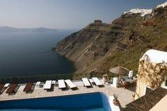Santorini Seeansicht lizenzfreie stockbilder