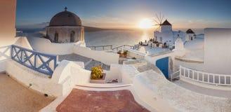 Santorini solnedgång Fotografering för Bildbyråer