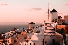 Santorini solnedgång Royaltyfria Bilder