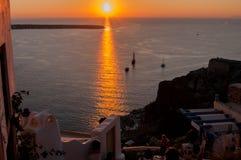 Santorini solnedgång Arkivbild