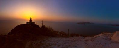 Santorini solnedgång arkivbilder