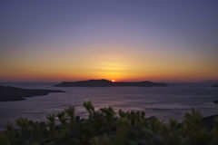 Santorini solnedgång Arkivfoton