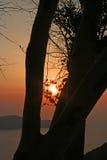 Santorini solnedgång Arkivfoto