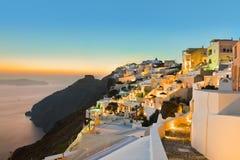 Santorini solnedgång - Grekland arkivbilder