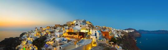 Santorini solnedgång (Oia) - Grekland Fotografering för Bildbyråer