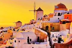 Santorini-Sonnenuntergang, Griechenland lizenzfreie stockbilder