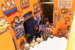 Santorini souvenir shop. Colorfull shop at Oia village royalty free stock photo