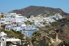 Santorini spectacular view of villages of white houses on the rocks, Cyclades Islands, Greece.  stock photo