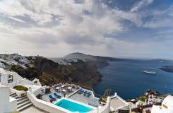 Santorini in spring stock photo