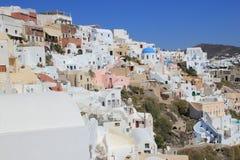 Santorini - stad på en vagga Arkivfoto