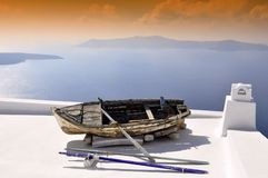 Santorini, stad Thira Stock Fotografie