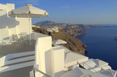 Santorini terraces overlooking sea,Greece Stock Images
