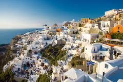 Santorini summer. Summer view of Oia, Santorini, Greece. People are not recognizable Royalty Free Stock Photos