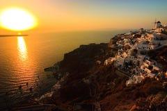 Santorini Sunset. Dramatic sunset in the village of Oia, Santorini Stock Photo