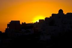 Santorini Sunset. Dramatic sunset in the village of Oia, Santorini Stock Photography