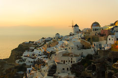 Santorini Sunset. Amazing Sunset at Oia Village in Santorini Island royalty free stock photos