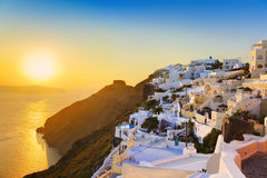 Santorini sunset - Greece. Santorini sunset (Firostefani) - Greece vacation background Royalty Free Stock Photo
