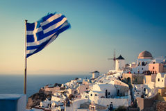 Santorini, sunset in Oia Royalty Free Stock Images