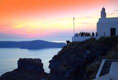 Santorini sunset scene Royalty Free Stock Images