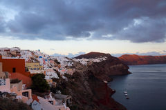 Santorini at sunset Royalty Free Stock Photos