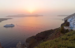 Santorini sunset in Thira Stock Photography