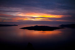 Santorini Sunset. View from Fira at the Caldera Sunset Royalty Free Stock Image