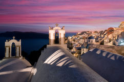 Santorini sunset. View of the old village of Oia Santorini at sunset Royalty Free Stock Photography