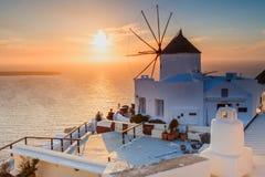 Santorini. Sunset by the Windmill Stock Photos
