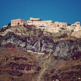 Santorini tappning för stil för illustrationlilja röd Royaltyfria Bilder