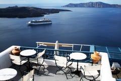 Santorini taras Fotografia Stock