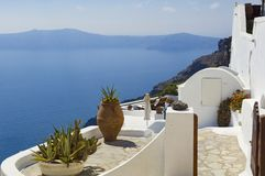 Santorini, deck over the sea Stock Photo