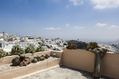 Santorini, terrace view to houses on caldera stock images