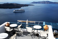 Santorini terrace Stock Photography