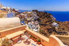 Santorini terraces and roofs. Seaview from Oia restaurant and terrace stock photo