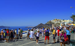 Santorini tourists Royalty Free Stock Photos