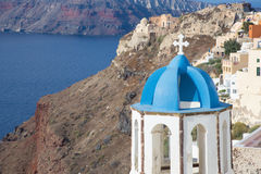 Santorini - The tower of typically little church in Oia Royalty Free Stock Images