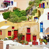 Santorini - traditionell arkitektur Arkivbild