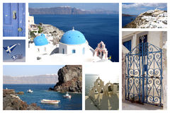 Santorini travel photos collage Stock Images
